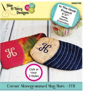 Sue O'Very Designs Corner Monogrammed Mug Mats - In the Hoop