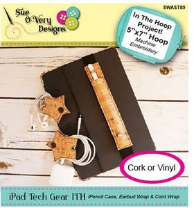 Sue O'Very Designs iPad Tech Gear iPencil Case and Cord Wrap - In The Hoop