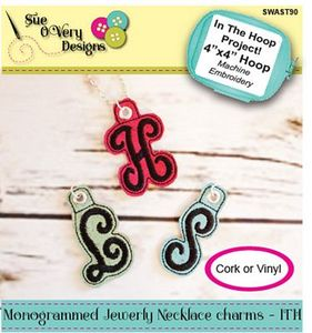 Sue O'Very Designs Monogrammed Jewelry Necklace Charms - In the Hoop