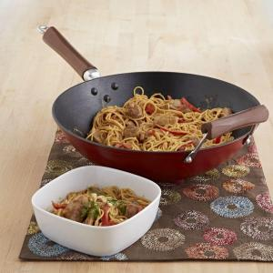 62438: IMUSA Global Kitchen GKG-61021 14-Inch Light Cast Iron Wok, Red