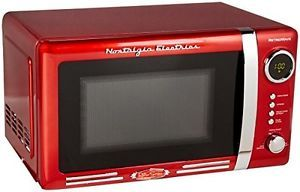 Nostalgia Electrics Rmo770red Retro Series 0 7 Cubic Foot Microwave Oven Red