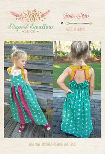 Striped Swallow Designs SSD3 Soho Maxi Dress Sewing Pattern for Girls