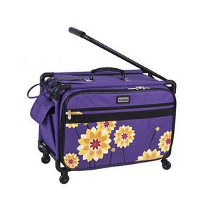 Tutto 2007-DAHLIA, Large Purple Dahlia Roller Bag on Wheels 21inL x 14inH x 12inD for your Sewing Machine