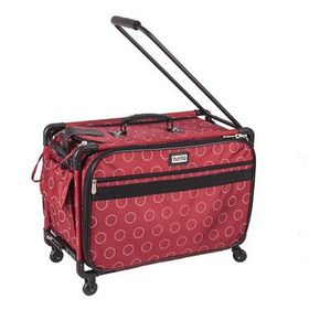 Tutto 2007-REDDOT, Large Red Dotted Roller Bag on Wheels 21inL x 14inH x 12inD Inside for your Sewing Machine Travel Case Needs.