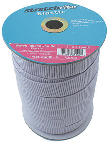 90030: Stretchrite SS1105 Ribbed Non-Roll Elastic 1inx30yd White