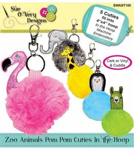 Sue O'Very Designs SWAST100 Zoo Animals Pom Pom Cuties In the Hoop