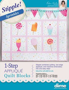 90107: DIME STP00 Stipple Sprinkles 1 Step Applique Quilt Blocks Wall Hanging CD by Eileen Roche
