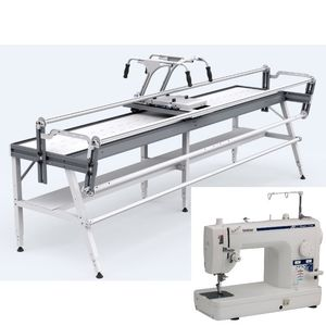 90180: Brother 1500 +Grace Q-Zone Hoop Quilting Frame 4.5' Wide, Cloth Leader, Laser Stylus, Table Inserts