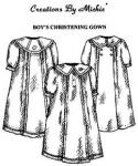 Creations by Michie CB112 Boy's Christening Gown 112 Pattern Size 3-12mo
