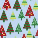 Fabric Finders 15 Yd Bolt 9.34 A YD839 Blue W/Christmas Trees Twill100% Pima Cotton Fabric 60 inch