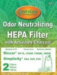 Riccar/Simplicity Replacment Rsr-1806 Filter, F15 1500 1800 S24 520 S18 Char & Hepa 2Pk