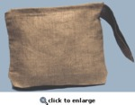 "Linen Cosmetic Bag, Natural Color Fabric, Embroidery Blank, 11"" Wide x 7"" Tall, 6"" Handle"