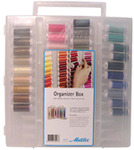 42308: Mettler ORG3406 Thread Spool Organizer Tote Box Container, 104 Spaces +40 Colors of Poly Sheen Embroidery Thread, Carrying Handle