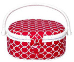 "Suzys Hobby Sewing Basket Medium Oval Fuchsia Box 9""x7""x4"""