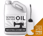 52004: Industrial Sewing Machine Serger Reservoir Pan Oil 1 Gallon Jug, Bonus Oiler Bottle