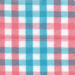 Fabric Finders T91 Coral and Turquoise Check Fabric by the yard