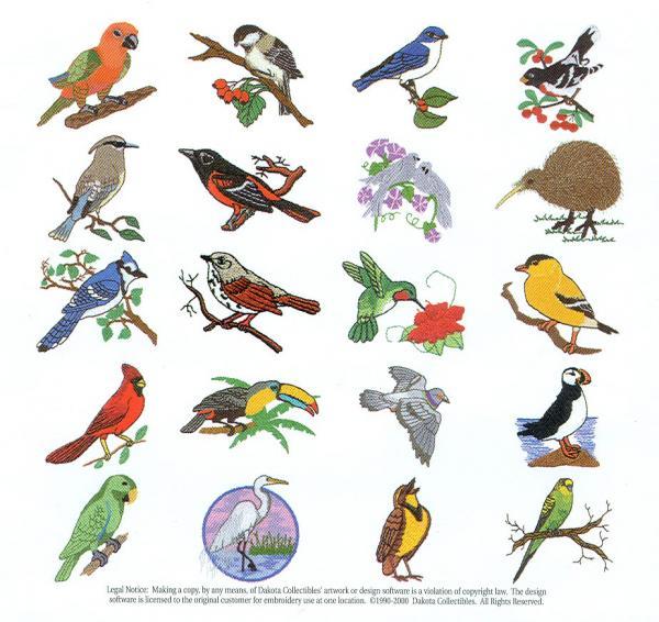Dakota Collectibles 970068 Pretty Birds Embroidery Designs Multi