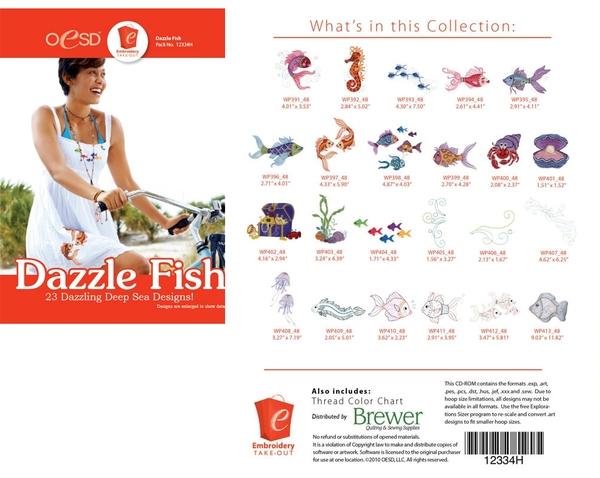 Oesd 12334h Dazzle Fish 23 Embroidery Designs Collection Multi