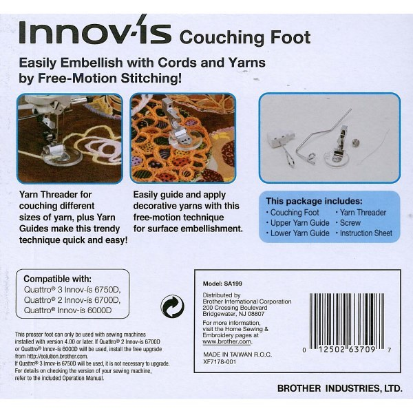 Brother SA199V Couching Sewing Foot Kit for V-Series