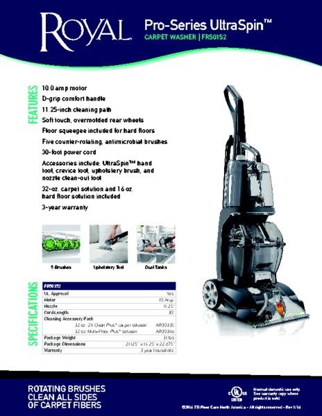 Royal Fr50152 Pro Series Ultraspin Carpet Cleaner Dual