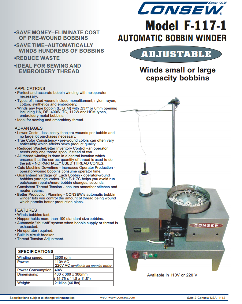 Type :220V w//UK Plug Automatic Shut Off Bobbin Winder for All Type Bobbins Universal More Powerful